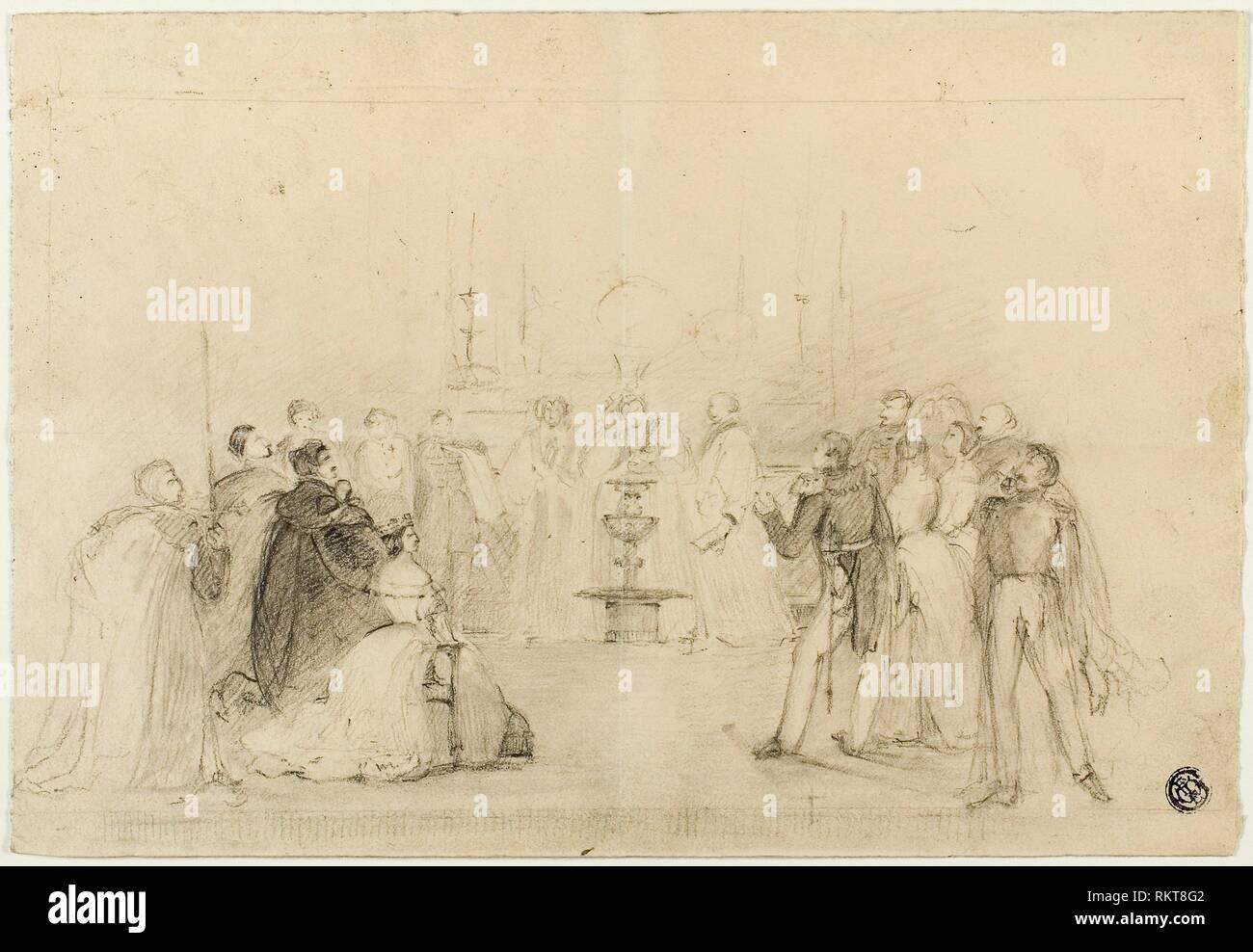 Studio - probabilmente John Hayter inglese, 1800-dopo il 1891 - Artista: John Hayter, Origine: Inghilterra, Data: 1800-1899, media: gesso nero, con sconcertante, su Immagini Stock