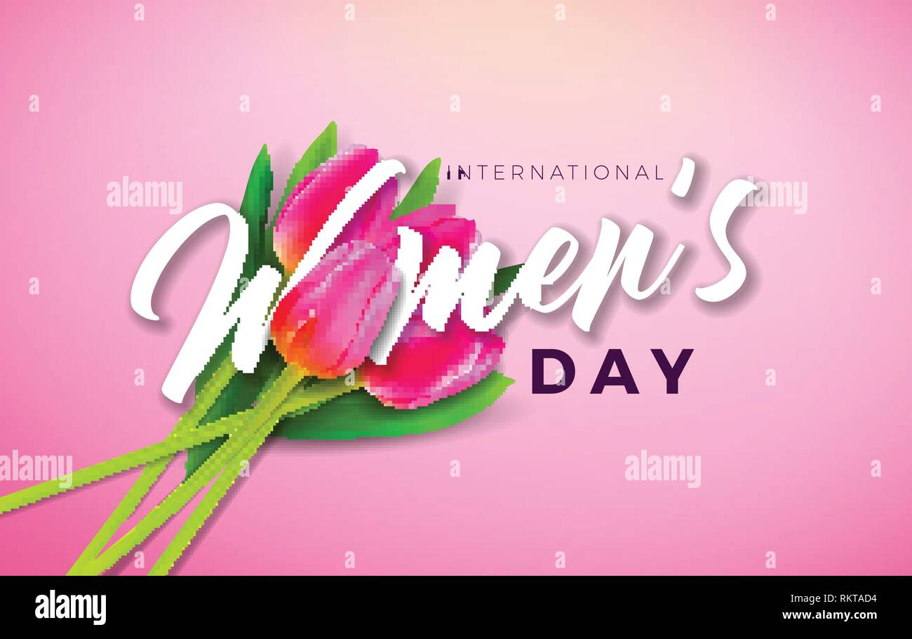 Buon Giorno della Donna illustrazione con Tulip Flower e 8 marzo la tipografia lettera su sfondo rosa. Vettore di celebrazione della primavera modello di progettazione per Illustrazione Vettoriale
