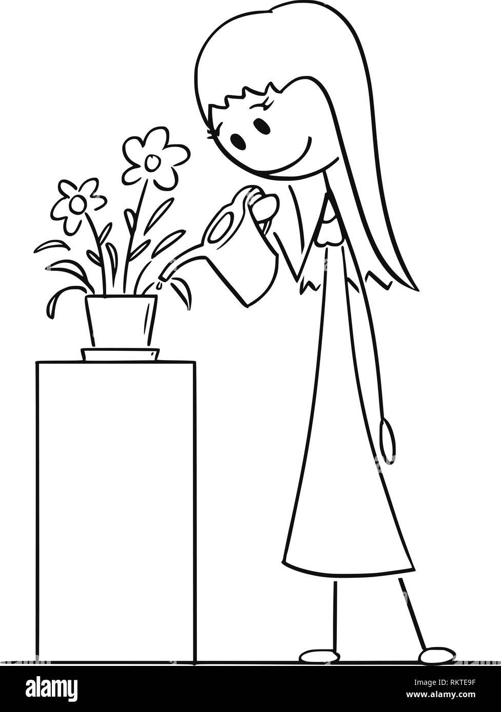 Disegno Animato Di Donna Impianto Di Irrigazione In Pentola O Vaso