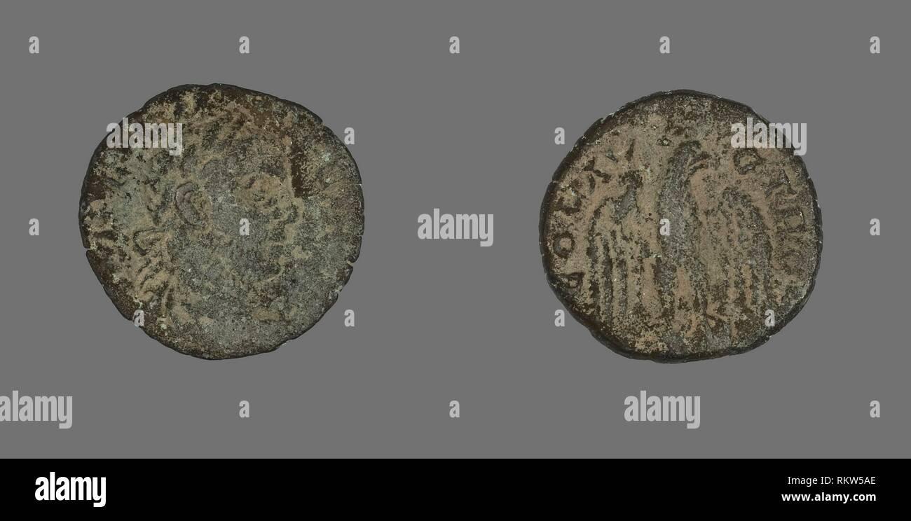 Moneta raffigurante busto - Annuncio 306/309 (?) - romano - Artista: antico romano, Origine: Impero Romano, Data: 306 AD-309 AD, Medio: Bronzo, Dimensioni: diam. 2 Immagini Stock