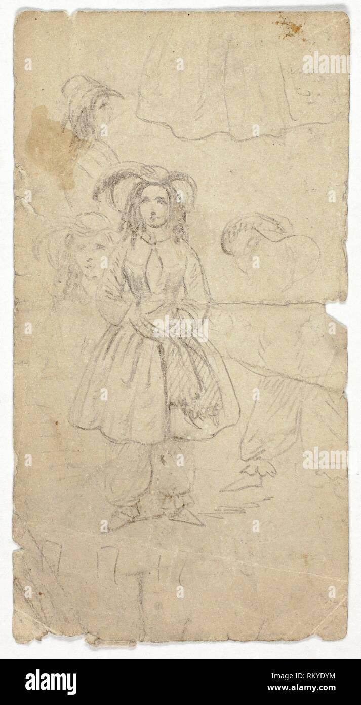Schizzi di giovane ragazza (recto); schizzi di Banjo Player (verso) - n.d. (Recto); 1800/1899 (verso) - artista sconosciuto eventualmente tedeschi o inglesi, XIX Immagini Stock