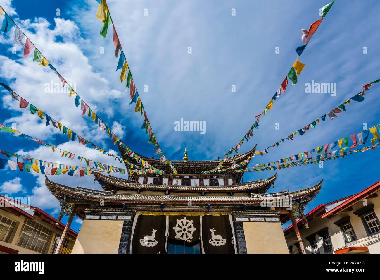 Tempio buddista, Old Town (Dukezong), Shangri La, (Zhongdian), nella provincia dello Yunnan in Cina. Immagini Stock