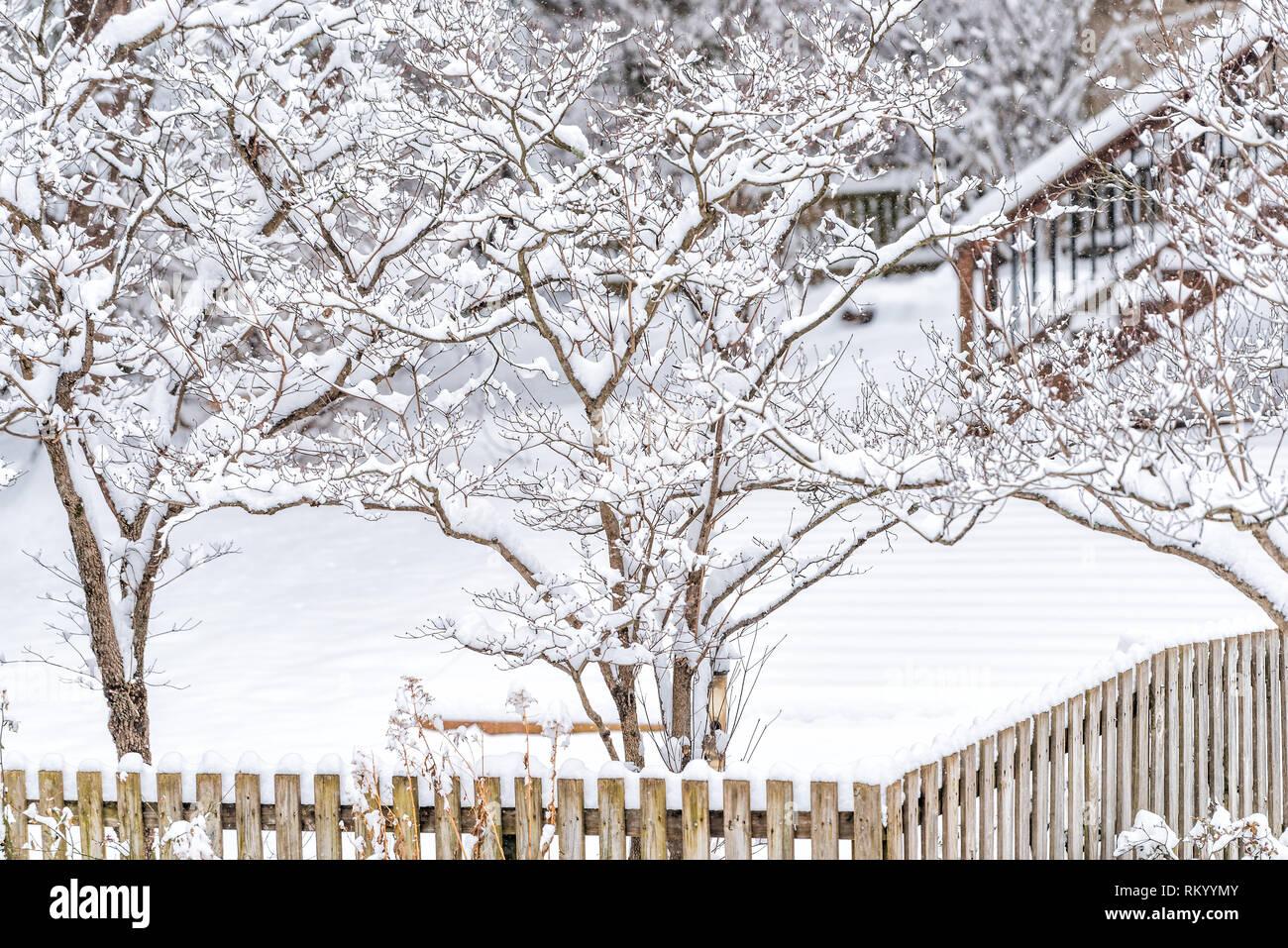 Staccionata Bianca In Legno staccionata in legno da casa con prato coperto di neve