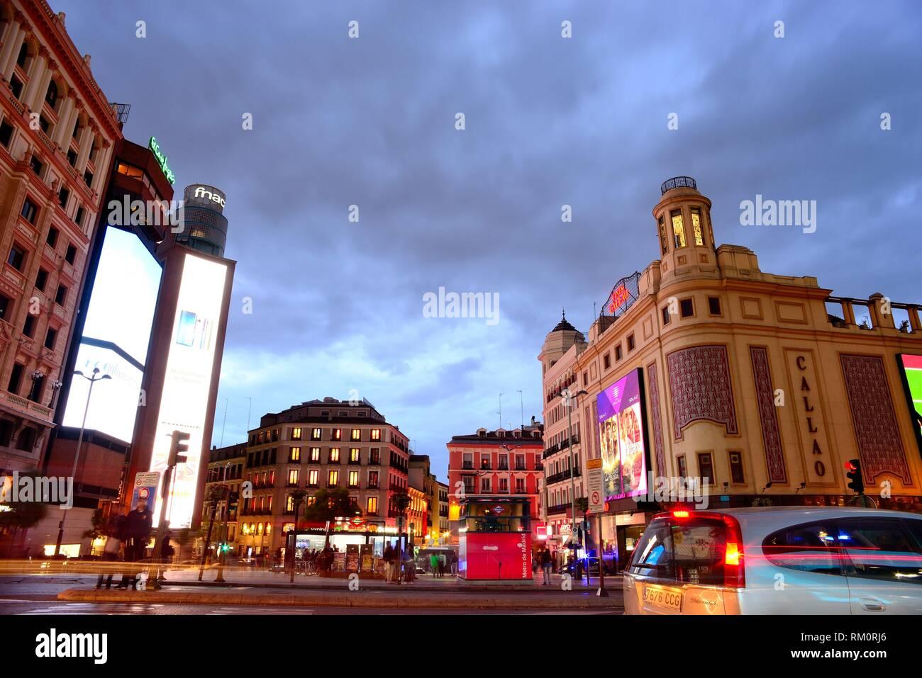Piazza di Callao in Gran Via, Madrid, Spagna. Immagini Stock