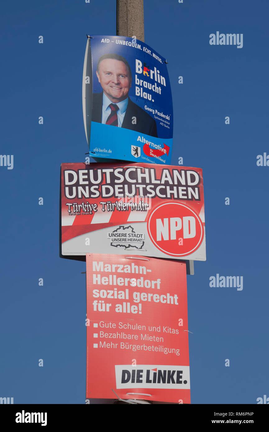 Elezione dei poster di NPD e AFD a Berlino, Germania Immagini Stock