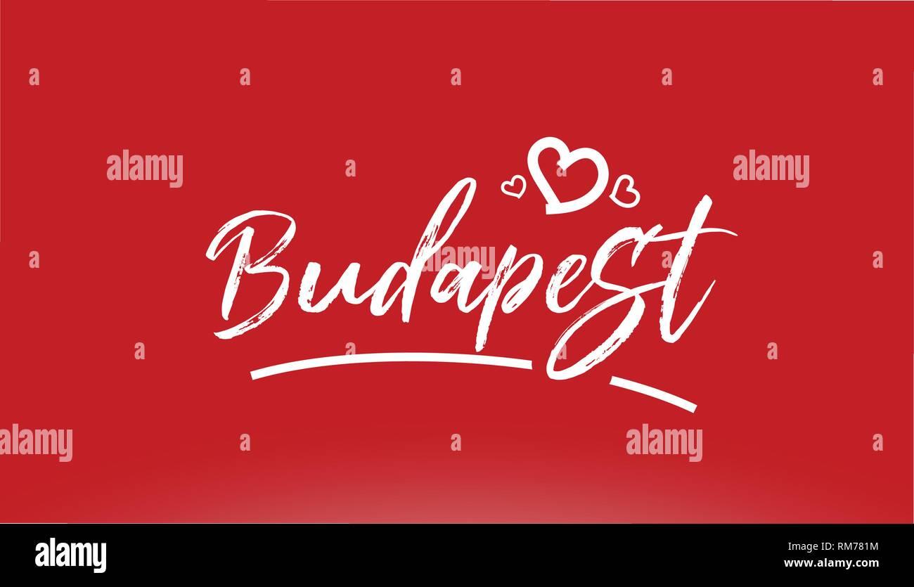 Budapest Città Bianca Scritto A Mano Il Testo Con Cuore Su Sfondo