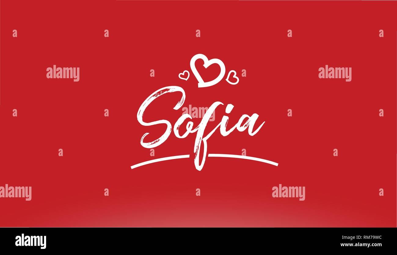 Sofia Città Bianca Scritto A Mano Il Testo Con Cuore Su Sfondo Rosso