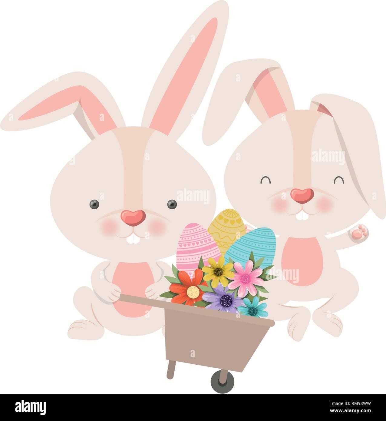 Coniglietti con carriola e uova di pasqua icona illustrazione