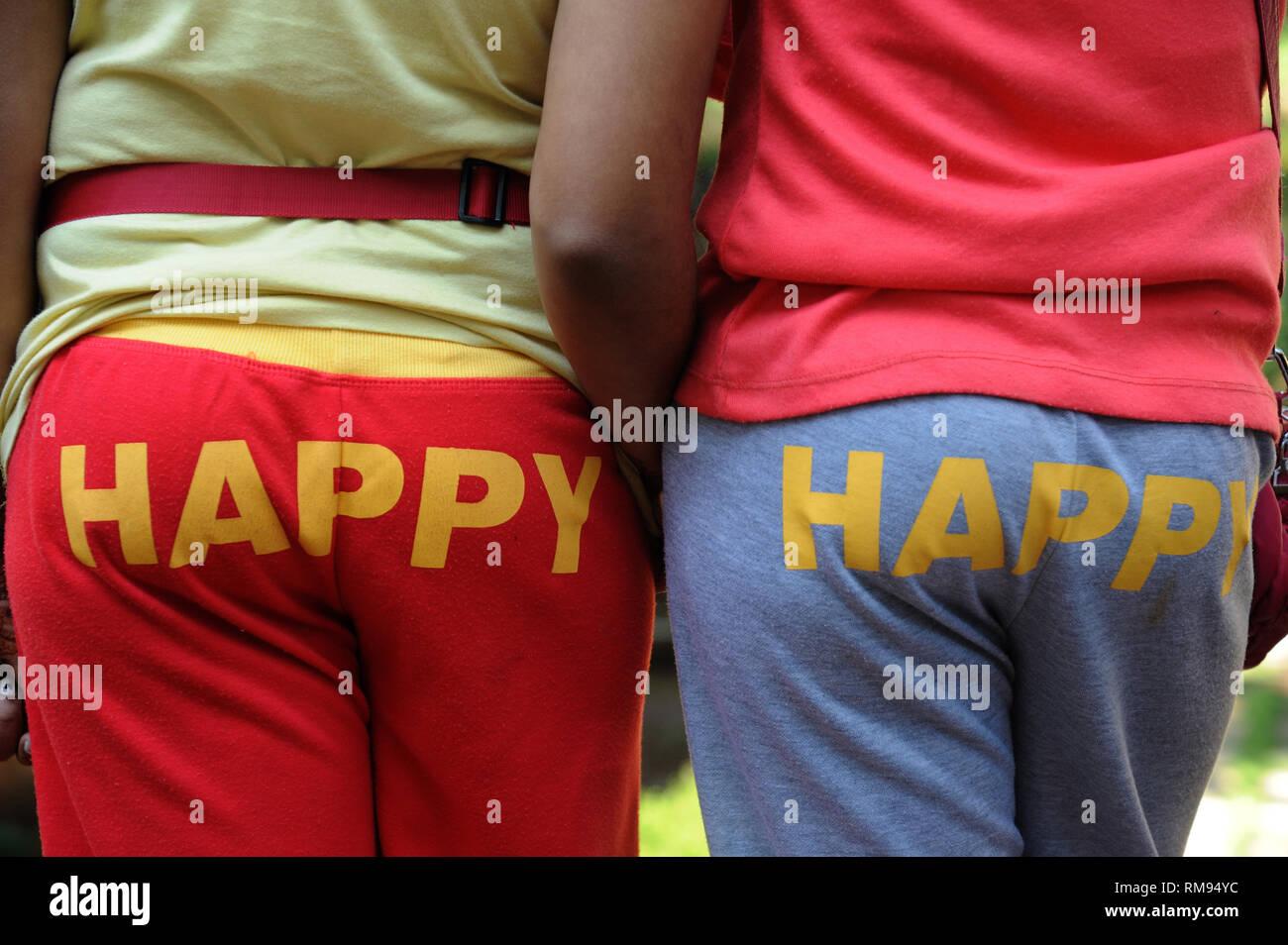 Felice stampata sul retro dei pantaloni, India, Asia, signor#364 Immagini Stock