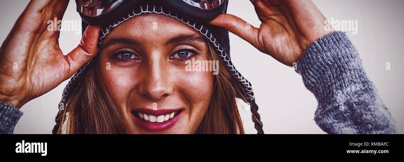 Ritratto di donna con maschere da sci Immagini Stock