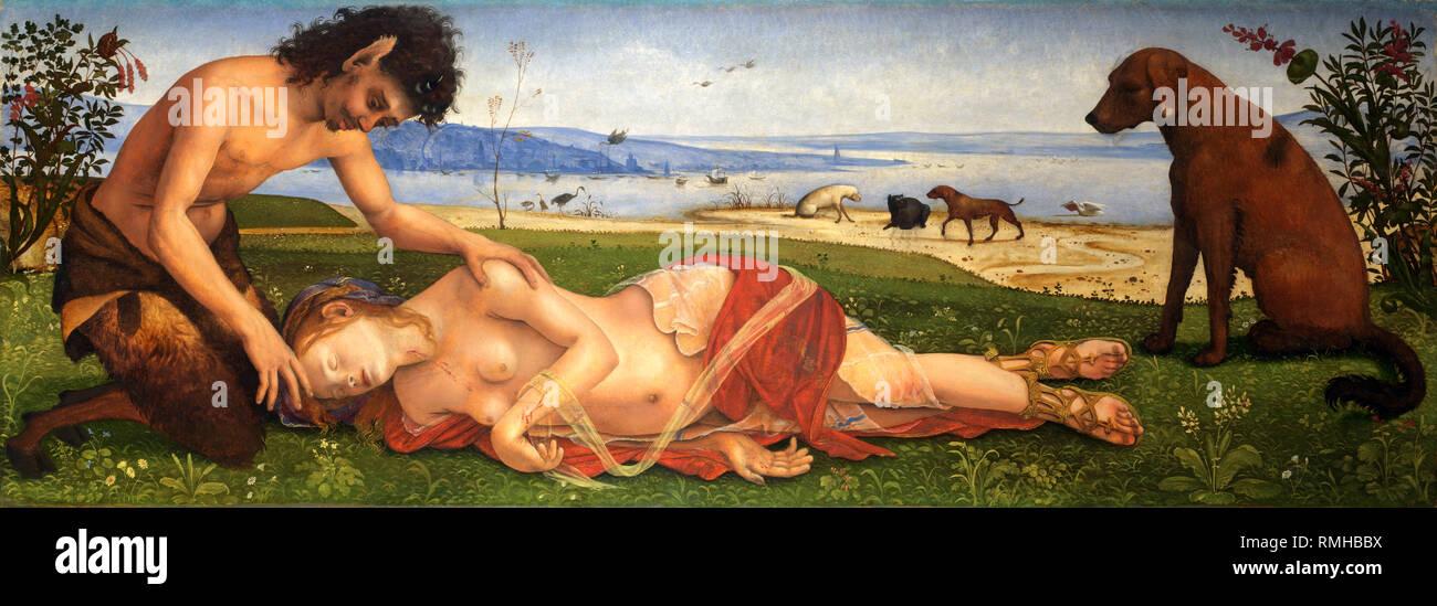 La morte di Procris, un satiro lutto su una ninfa o semplicemente un soggetto mitologico di Piero di Cosimo Immagini Stock