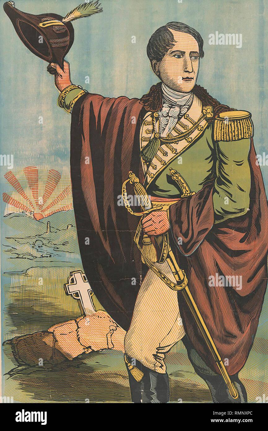 Stampa di robert emmet in uniforme tenendo hat e spada con il sorgere del sole e la lapide dietro di lui. Robert Emmet fu eseguita dal britannico per alto tradimento per organizzare la ribellione del 1803. Immagini Stock