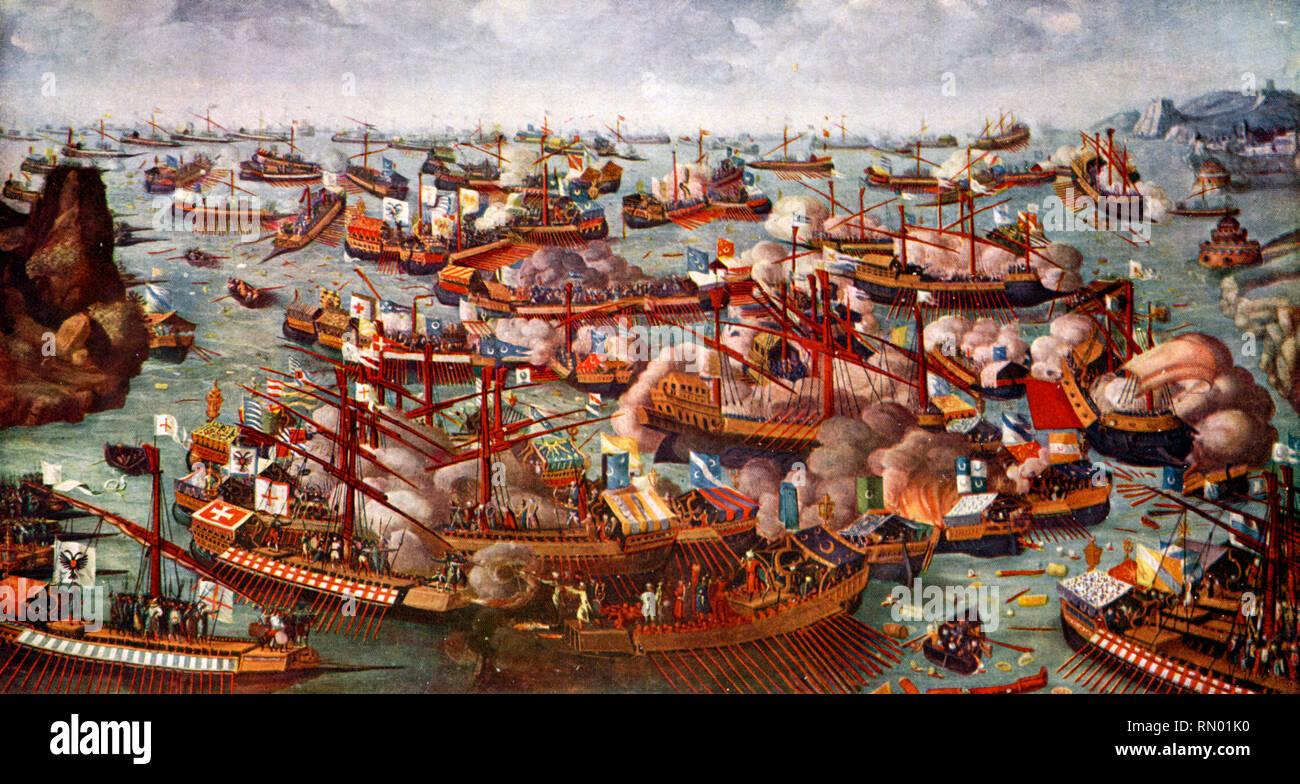 La battaglia di Lepanto, 1571. La battaglia di Lepanto era un impegno navale che ha avuto luogo il 7 ottobre 1571, tra la Lega Santa, guidato dalla repubblica veneziana che insieme con l'impero spagnolo, inflisse una grande sconfitta della flotta dell'Impero Ottomano nel golfo di Patrasso. Foto Stock