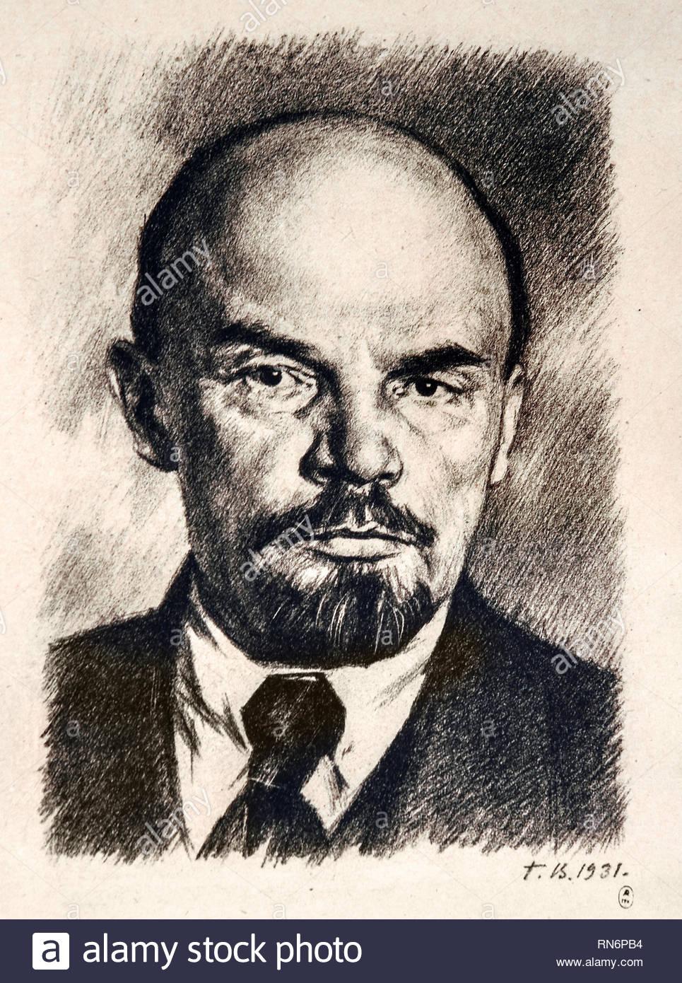 Ritratto di Lenin 1931 Unione Sovietica propaganda comunista (Russia sotto Lenin e Stalin1921-1953 ). Immagini Stock
