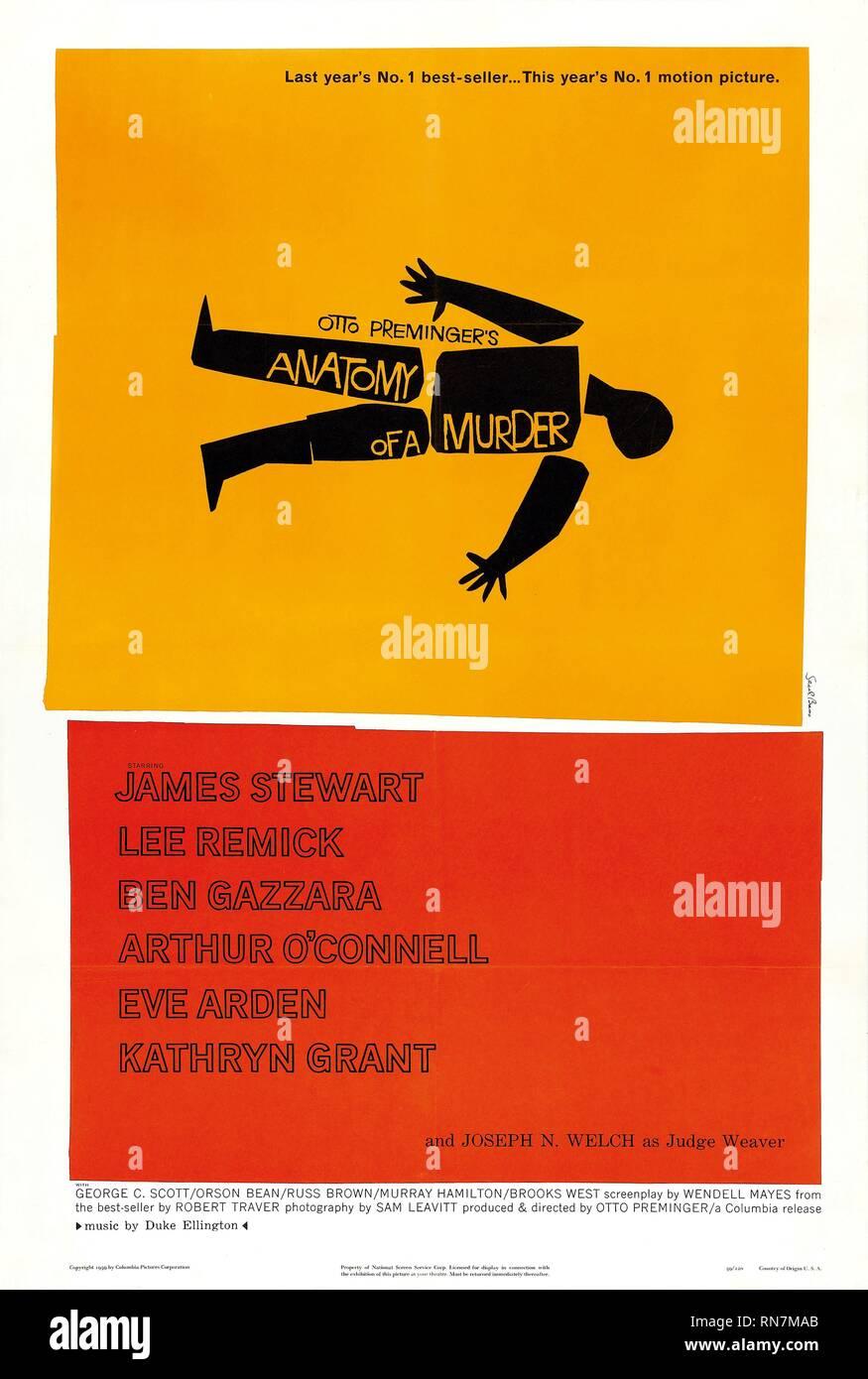 POSTER del filmato, Anatomia di un omicidio, 1959 Immagini Stock