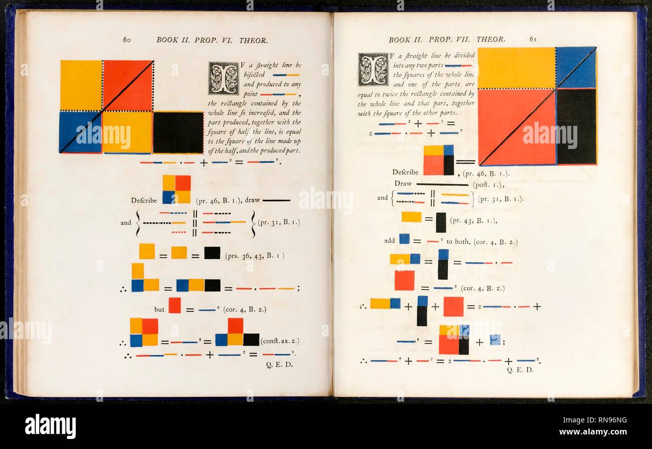Pagine da 'i primi sei libri degli elementi di Euclide…' da Oliver Byrne (1795-1876), pubblicato nel 1847. Immagini Stock