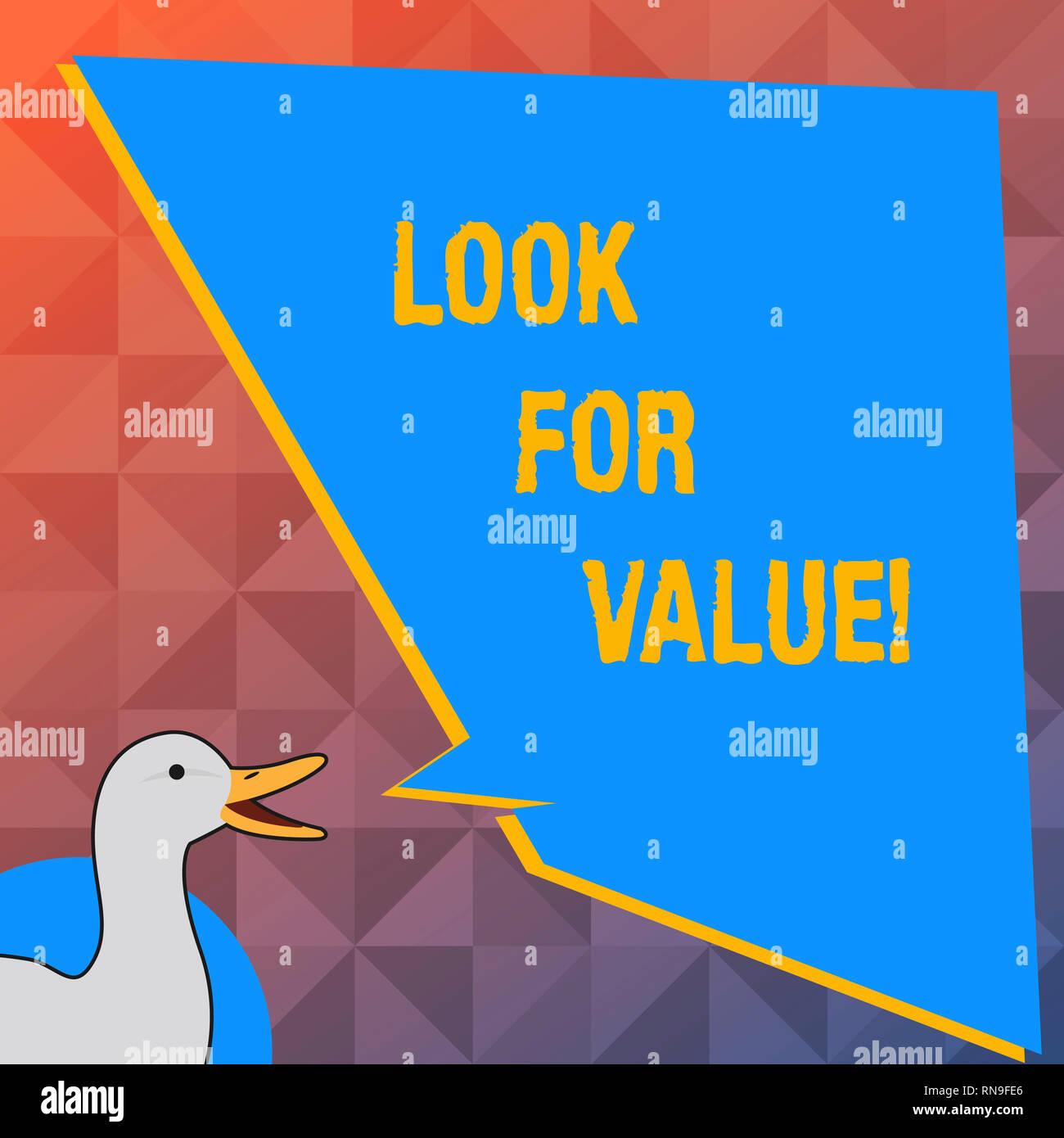 Scrittura testo un aspetto per il valore. Concetto significato alla ricerca di preziose degno di business i ricavi degli investimenti Immagini Stock