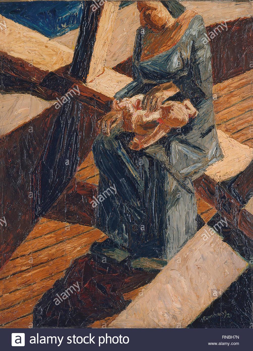 David Bomberg (Birmingham, 1890-London, 1957). Bargee (madre e bambino) (1921). Olio su tela. 91,5 x 71 cm. Museo: Museo Nacional Thyssen-Bornemisza, Madrid. Immagini Stock