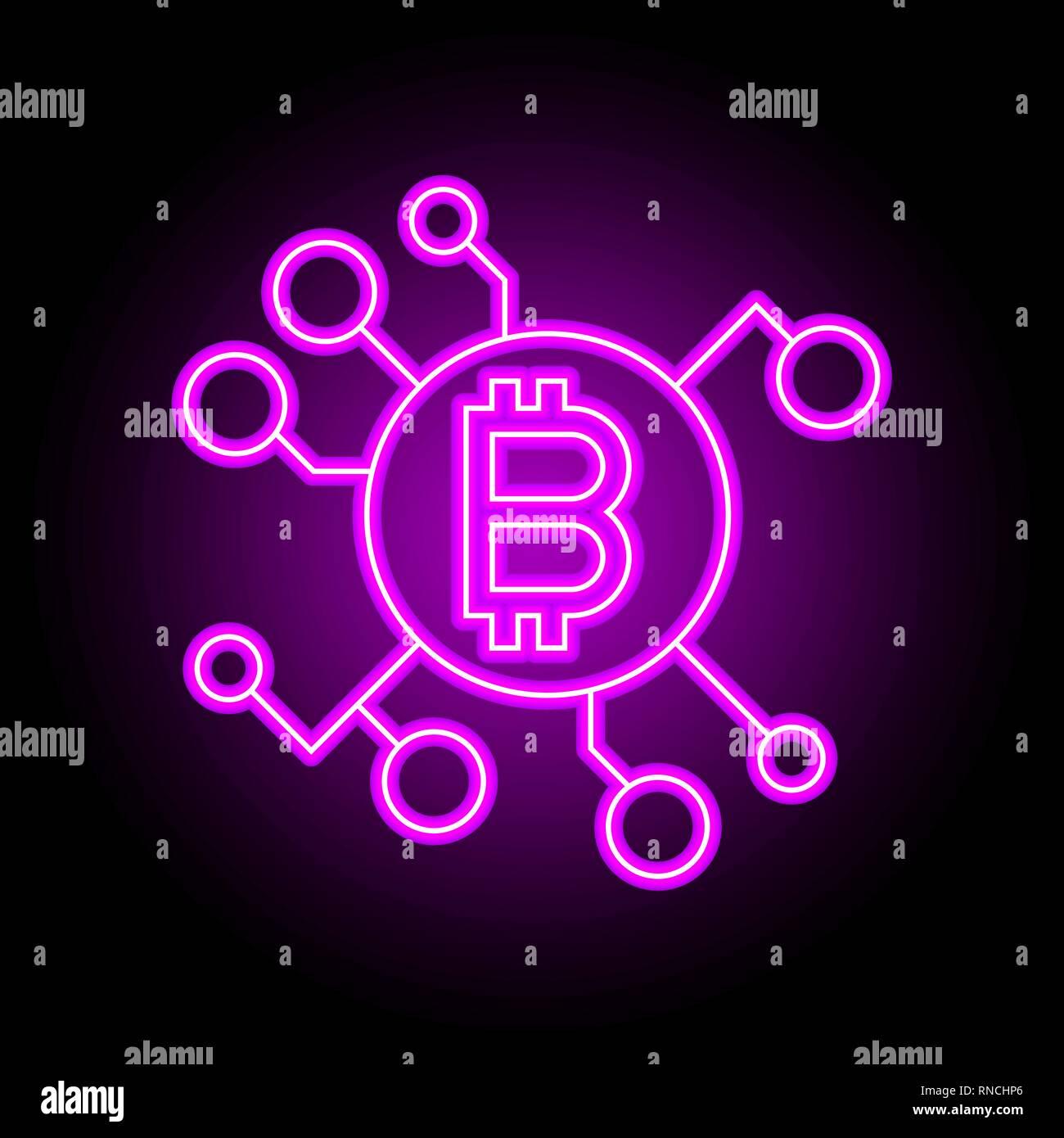 Blockchain concetto tecnologico. Accedi neon stile Illustrazione Vettoriale