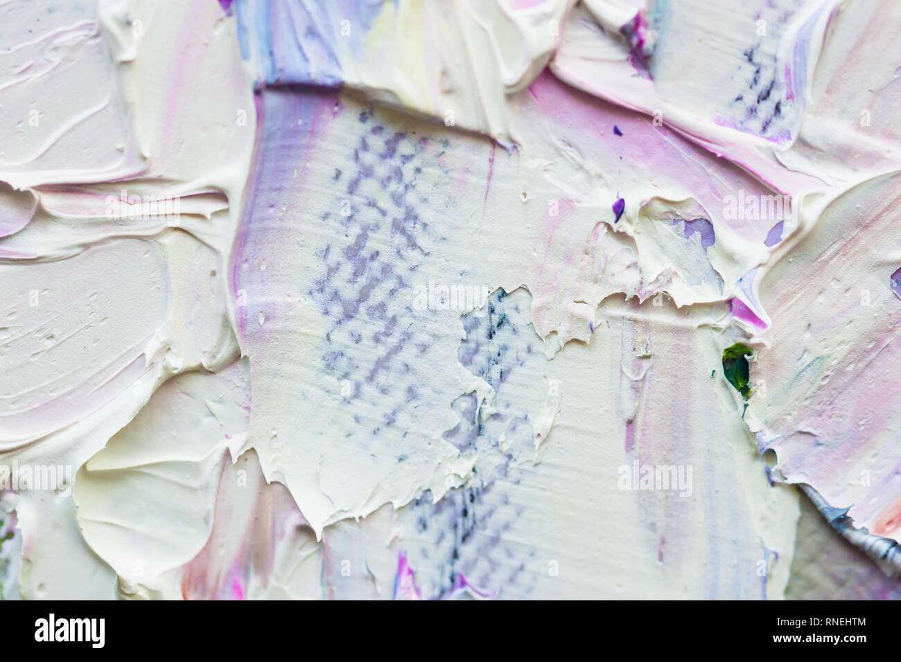 Primo piano astratto del fatto a mano sfondo, colori pastello, consistenza della pittura ad olio su tela. Art design, banner. Per lo sfondo Immagini Stock
