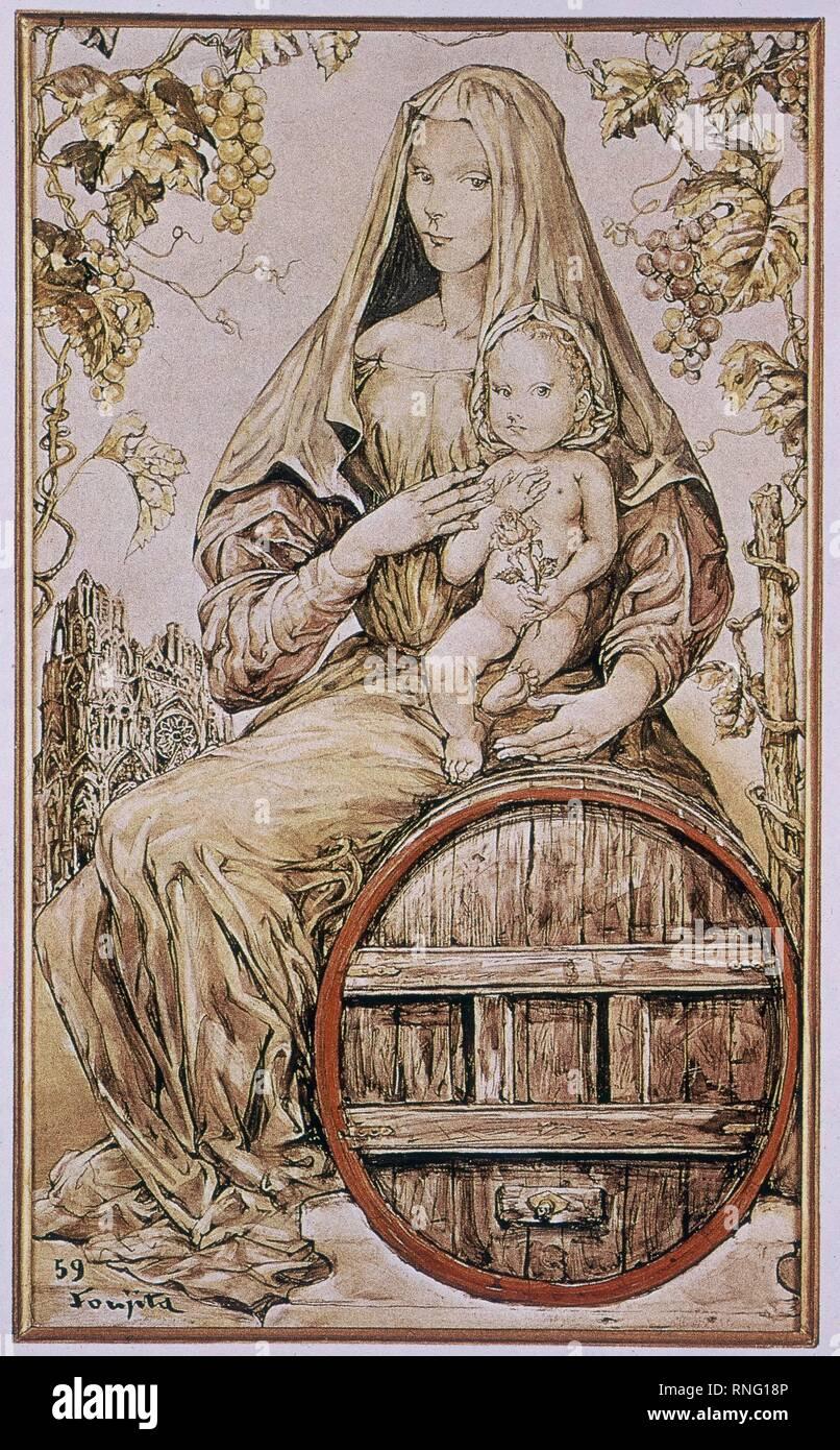 Cartello PUBLICITARIO CON MOTIVO religioso. Immagini Stock