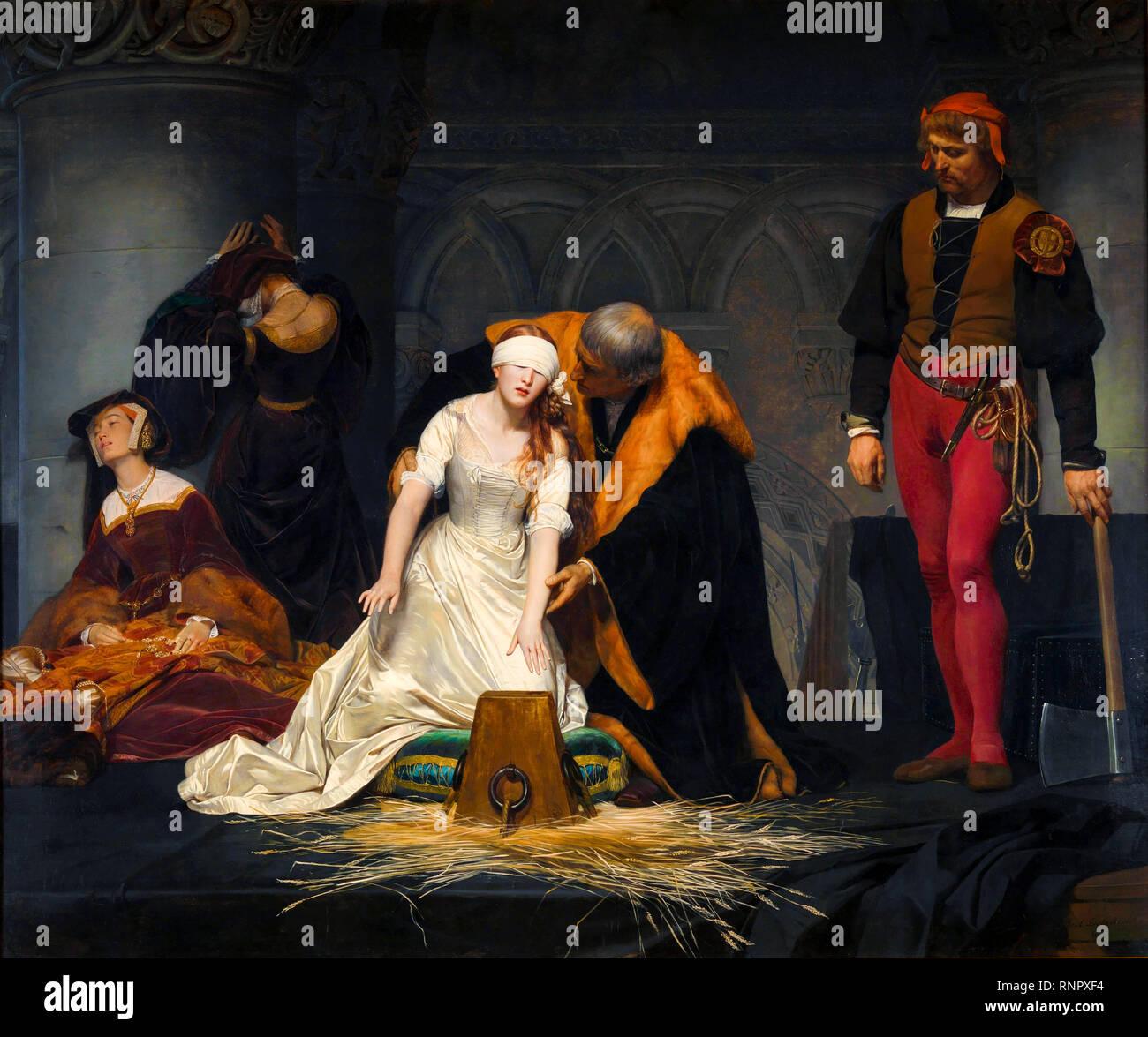 L'esecuzione di Lady Jane Grey nella Torre di Londra nell'anno 1554, Paul Delaroche, 1833, pittura Immagini Stock