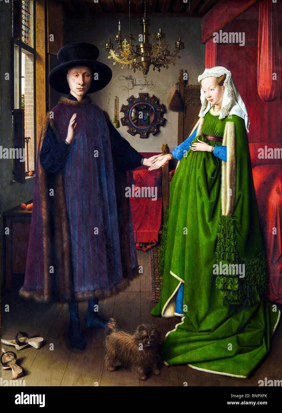 Il Ritratto di Arnolfini o Ritratto di Giovanni Arnolfini e sua moglie, Jan Van Eyck, 1434 pittura Immagini Stock