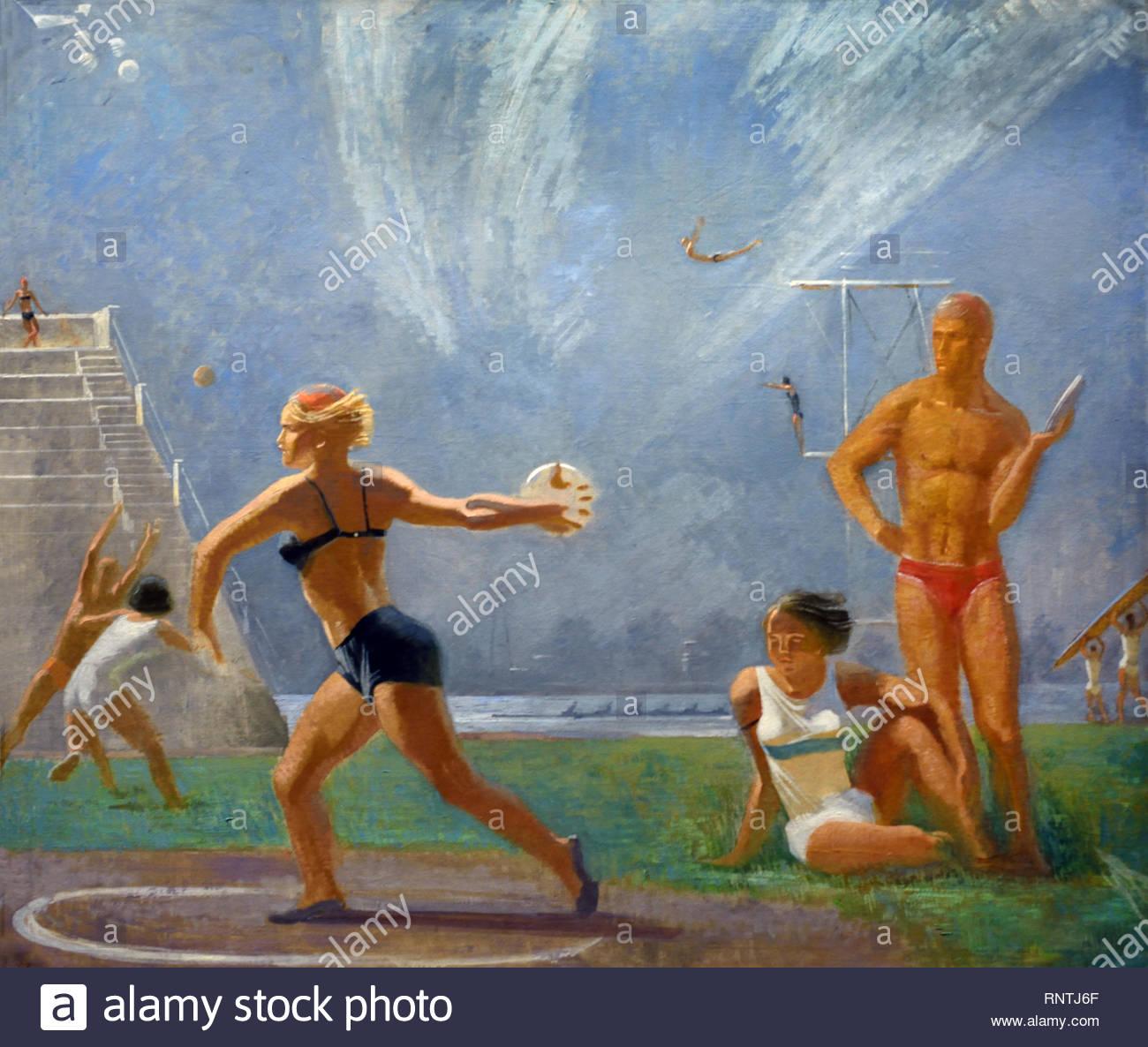 Presso lo stadio (atletica leggera) 1934 Alexander Samokhvalov. Unione Sovietica propaganda comunista (Russia sotto Lenin e Stalin1921-1953 ). Immagini Stock