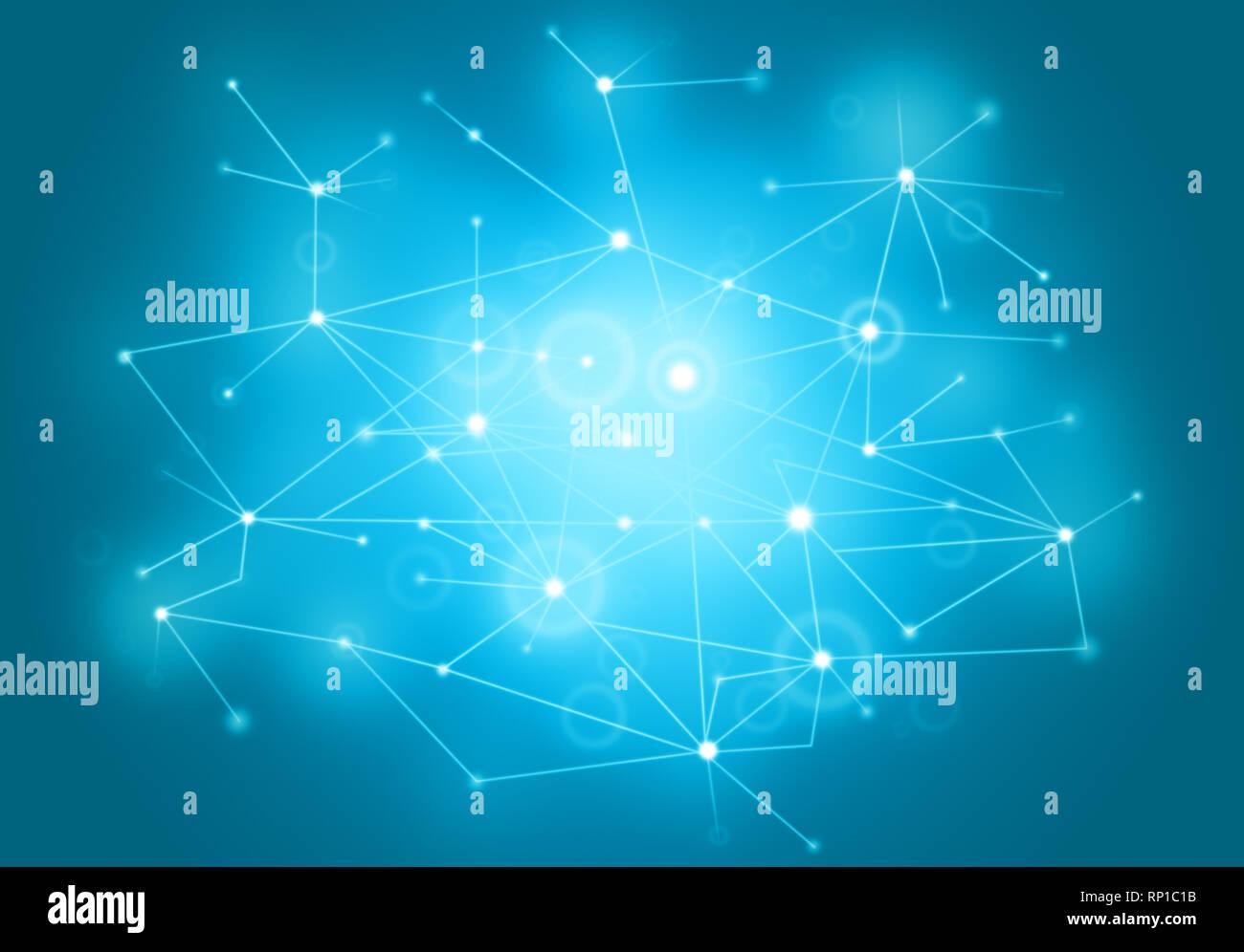 Futuristico stile poligonale abstract vector network sfondo per il business con la tecnologia o la scienza presentazione. Struttura Molecolare, puntini cibernetici. Immagini Stock