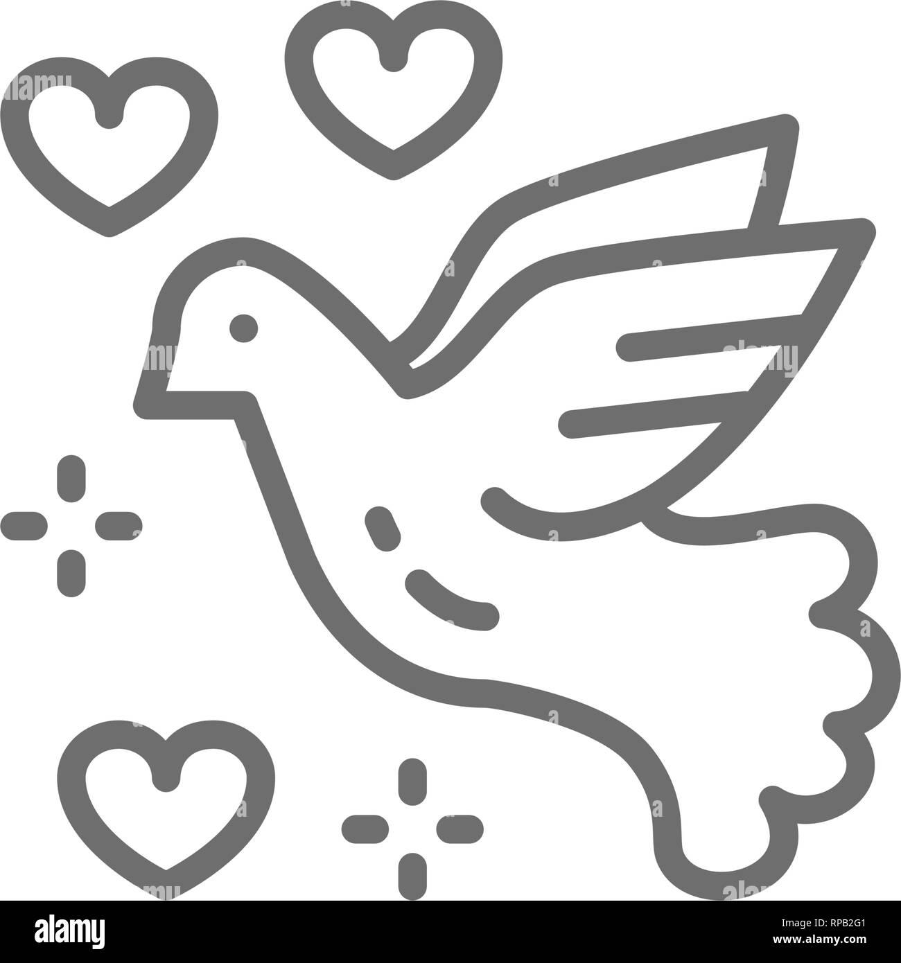 Colomba della Pace, uccello amore, piccione, il pacifismo icona linea. Immagini Stock