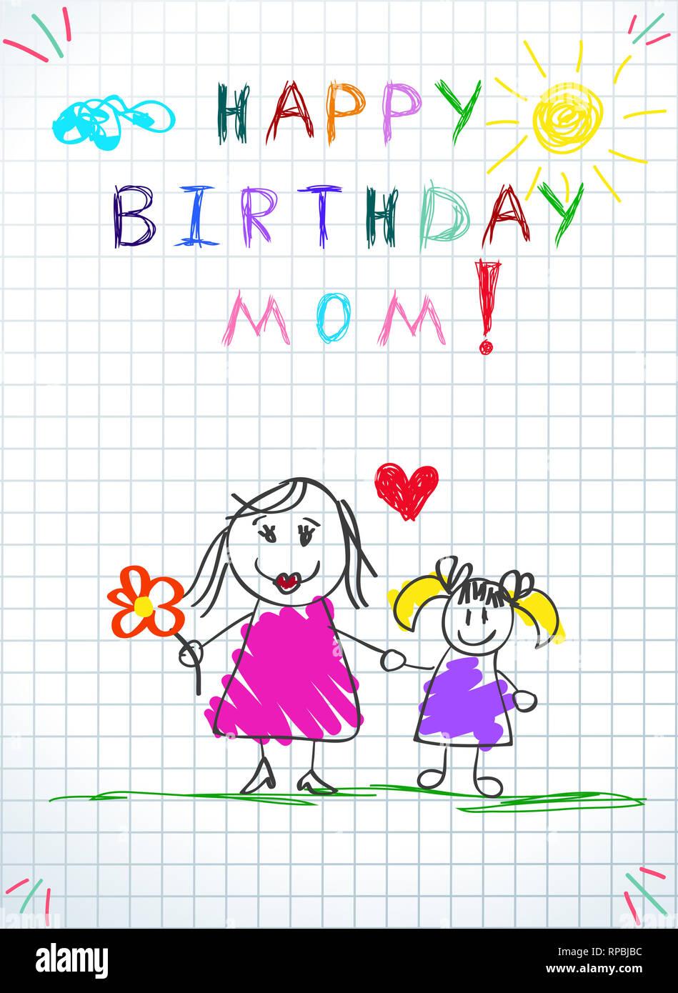 d0392350cede Bambini colorati disegnati a mano illustrazione della madre e figlia  insieme detengono fiori
