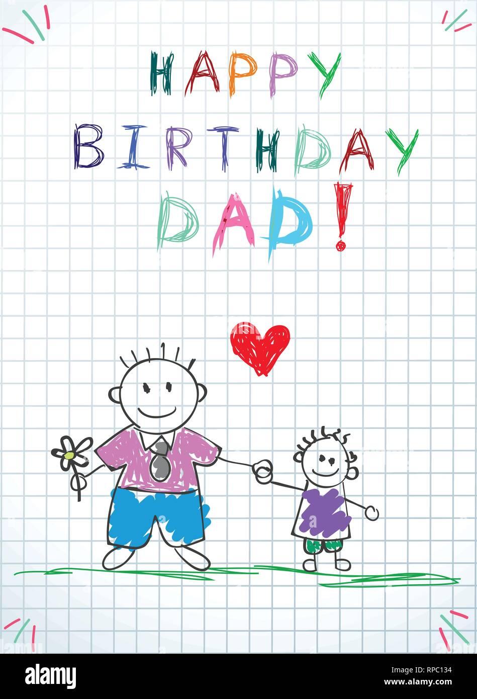 7bd65577ee27 Bambini colorati disegnati a mano illustrazione vettoriale di padre e  figlio insieme detengono fiori