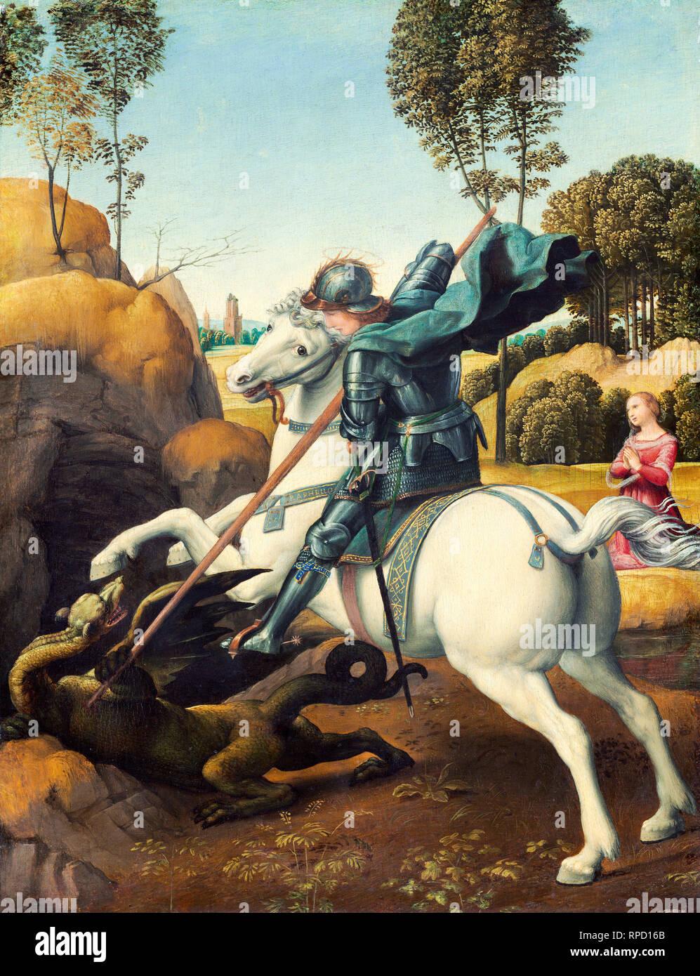Raffaello, San Giorgio e il drago, c. 1506, olio su pannello, pittura Immagini Stock
