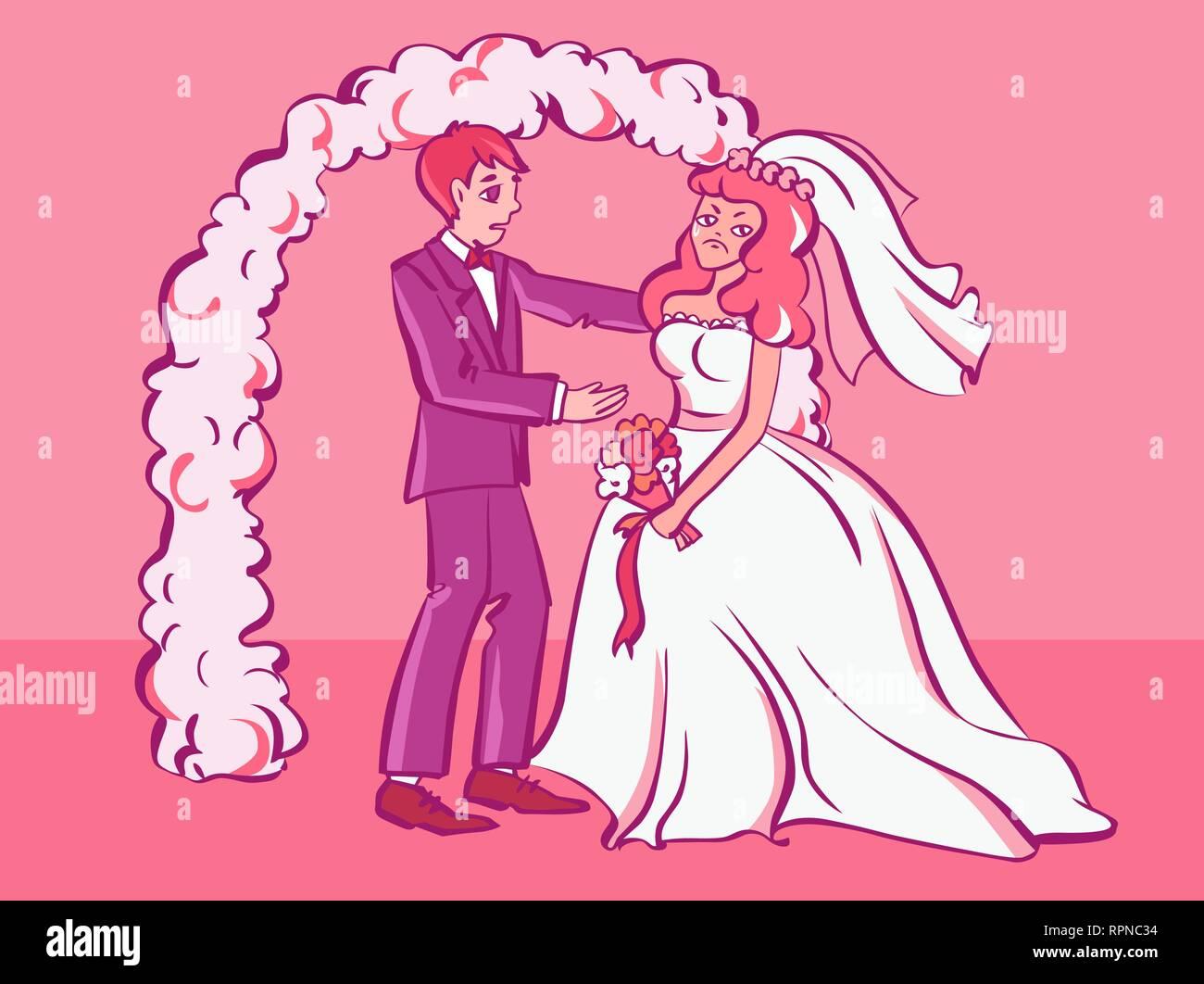 727ac637ae2 Triste fidanzata di grido, sposo cerca conforto per lei. Lo stile del  fumetto illustrazione
