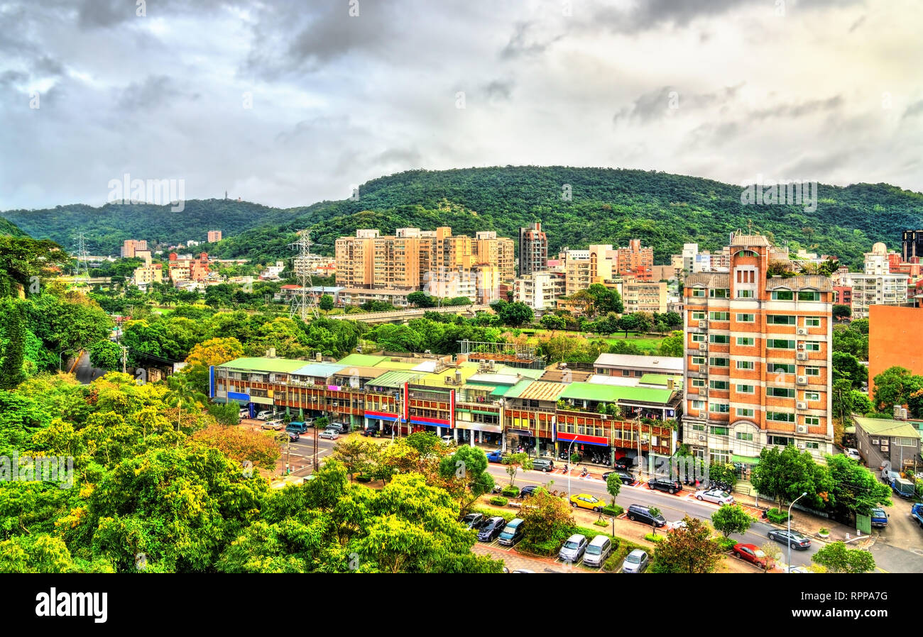 Vista di Taipei, la capitale di Taiwan Immagini Stock