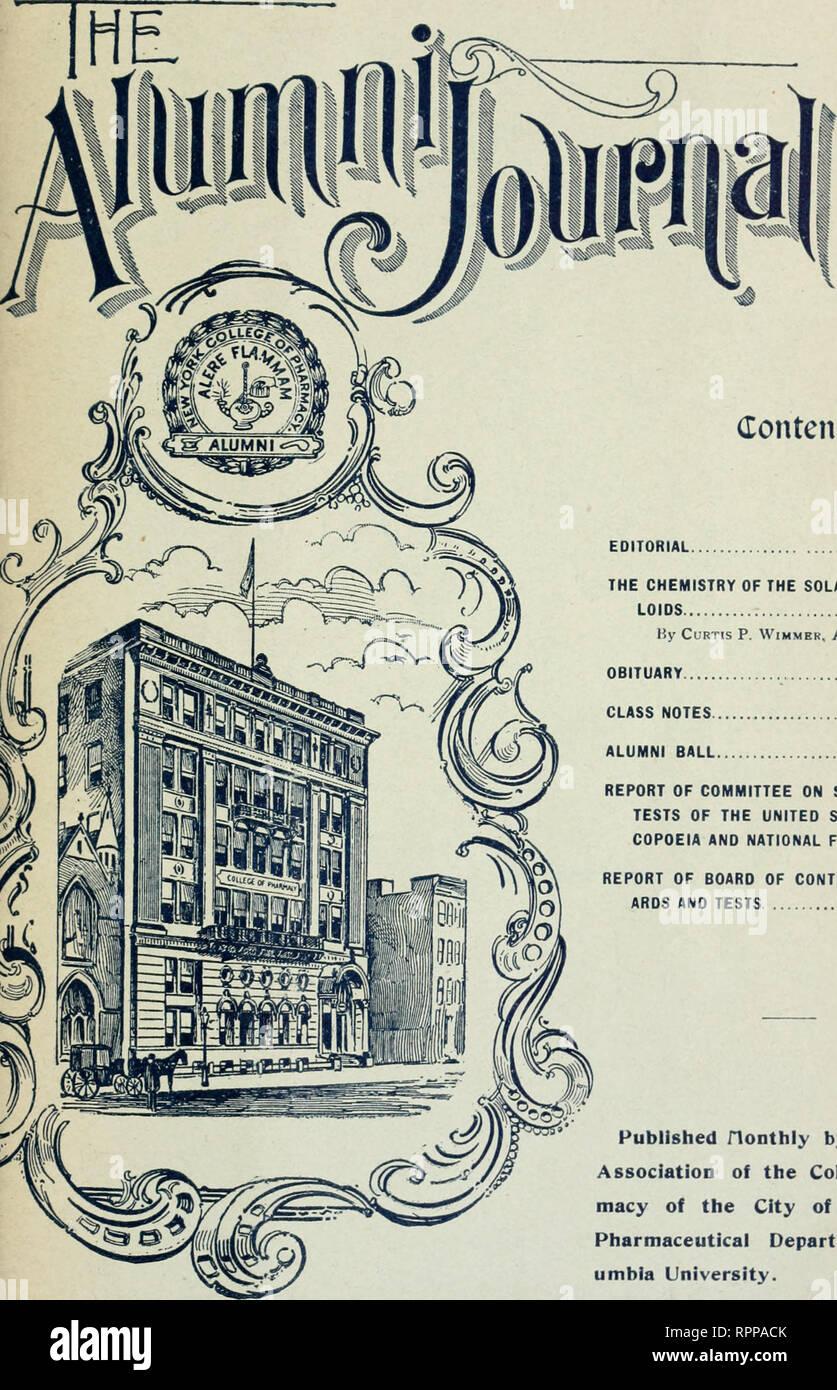 . La Alumni ufficiale. La Columbia University. College of Pharmacy; Farmacologia. VOL. XVII. Gennaio. 1910. No. 1 contento. 1 EDITORIALE DELLA CHIMICA DEL SOLANACEOUS ALKA- LOIDS 2 da Curtis P. Wimmbr, A. M., Phar. D. NECROLOGIO 4 CLASSE NOTE 5 ALUMNI SFERA 5 RELAZIONE DEL COMITATO SULLE NORME E LE PROVE DEGLI STATI UNITI PHARMA- COPOEIA E NATIONAL FORMULARY 6 RELAZIONE DELLA COMMISSIONE DI CONTROLLO SU STAND- ARDS E PROVE 10 flonthly pubblicato dall'Associazione ex-allievi del Collegio di Phar- macy della città di New York- dipartimento farmaceutico di col- umbia University.. Si prega di notare che queste immagini sono Immagini Stock