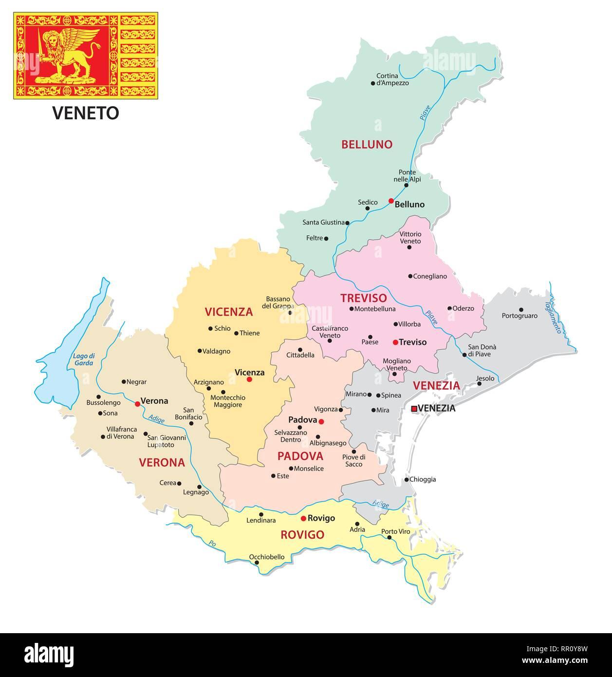Cartina Dettagliata Veneto.Veneto Map Vector Immagini E Fotos Stock Alamy
