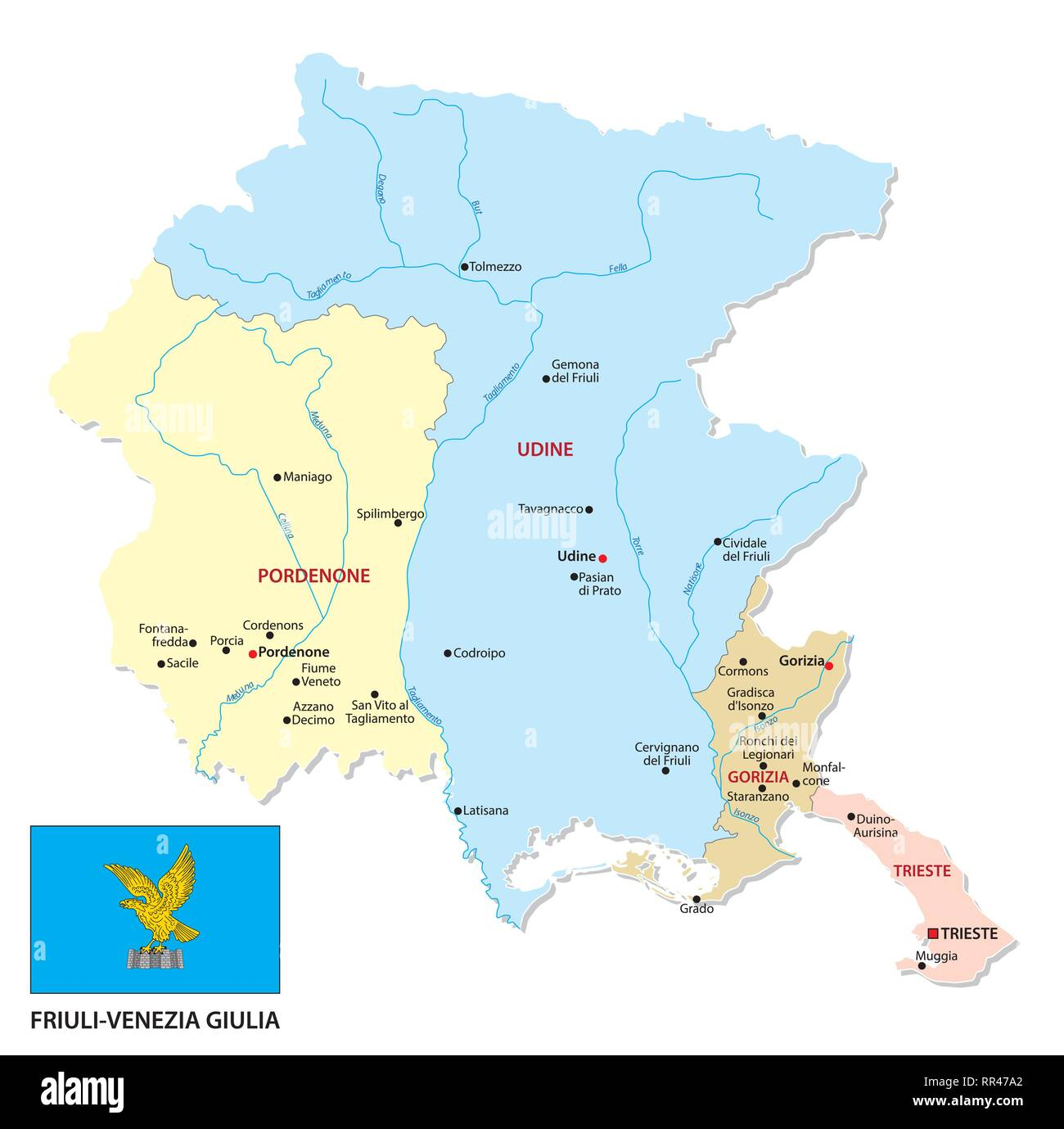 Cartina Fisica Del Friuli Venezia Giulia.Friuli Venezia Giulia Politica E Amministrativa Di Mappa Con Bandiera Immagine E Vettoriale Alamy