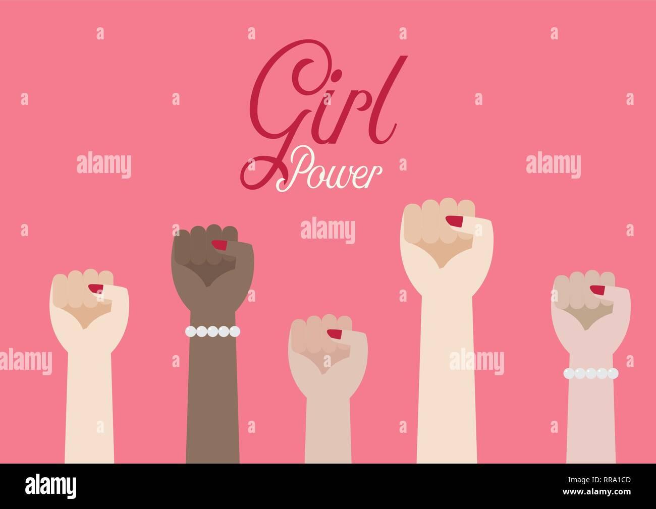 Le donne del pugno di mani e iscrizione Girl power. Illustrazione Vettoriale poster Illustrazione Vettoriale