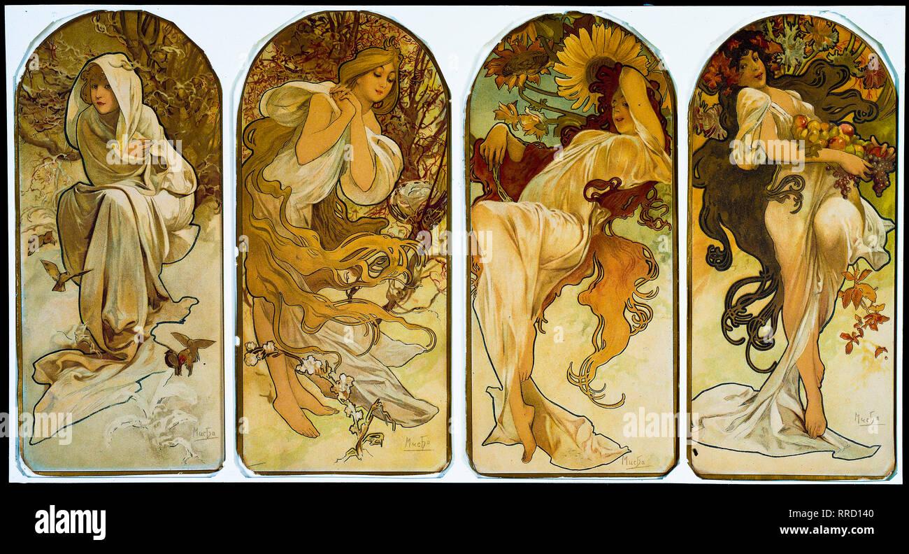 Le stagioni 1897, Alphonse Mucha, Litografia a colori su carta, stampa Immagini Stock