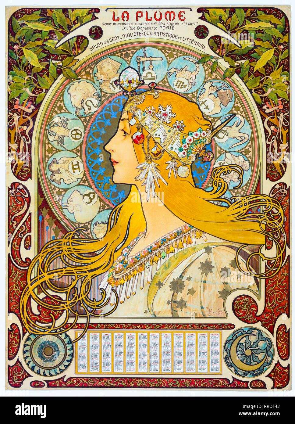 Zodiaco (La pennacchio) 1896-1897, Alphonse Mucha, Art Nouveau, stampa calendario Immagini Stock