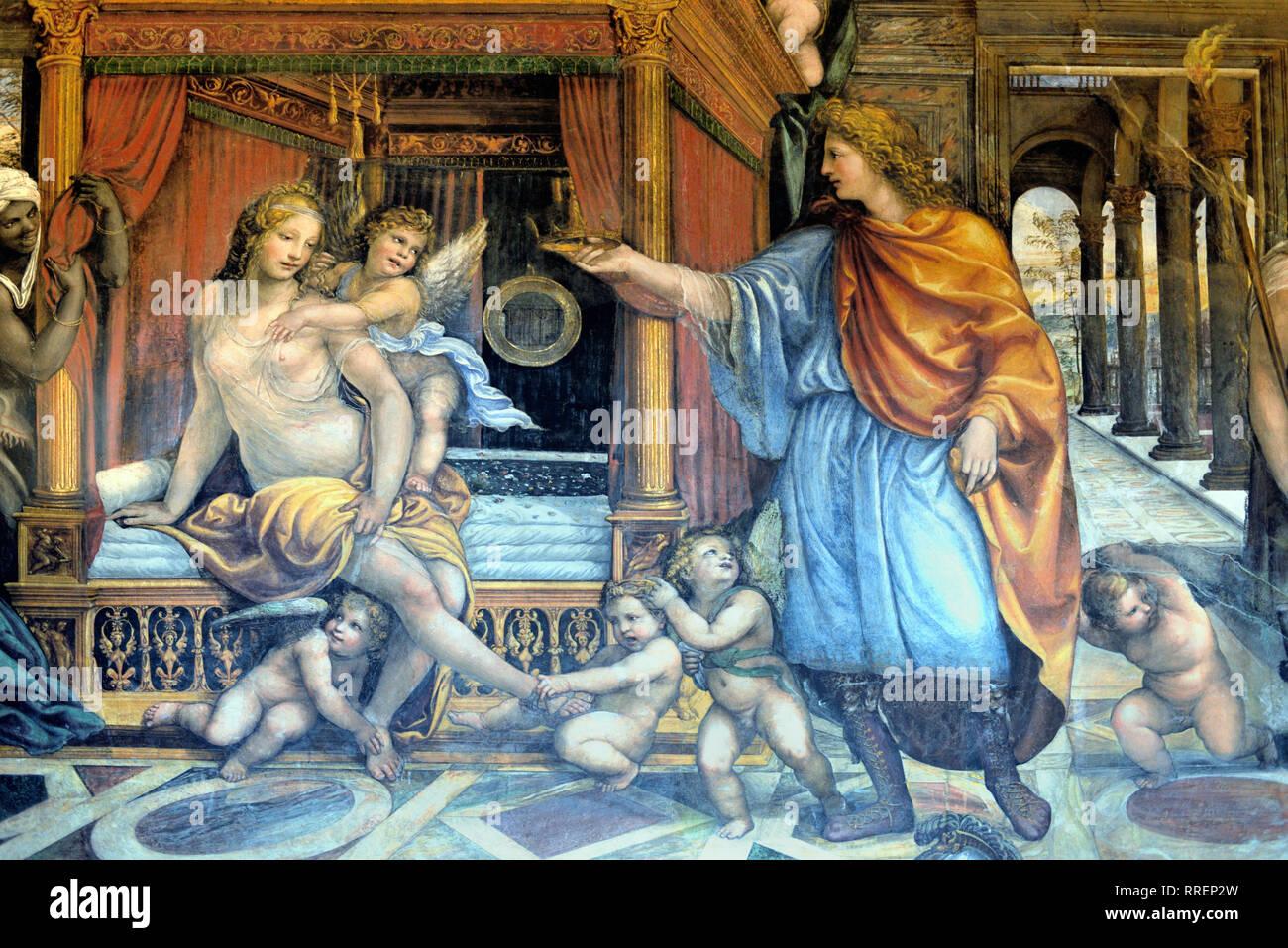 Il matrimonio di Alessandro il Grande & Roxana o Roxane affresco di Giovanni Antonio Bazzi (1519) nella rinascimentale Villa Farnesina Trastevere Roma Italia Immagini Stock