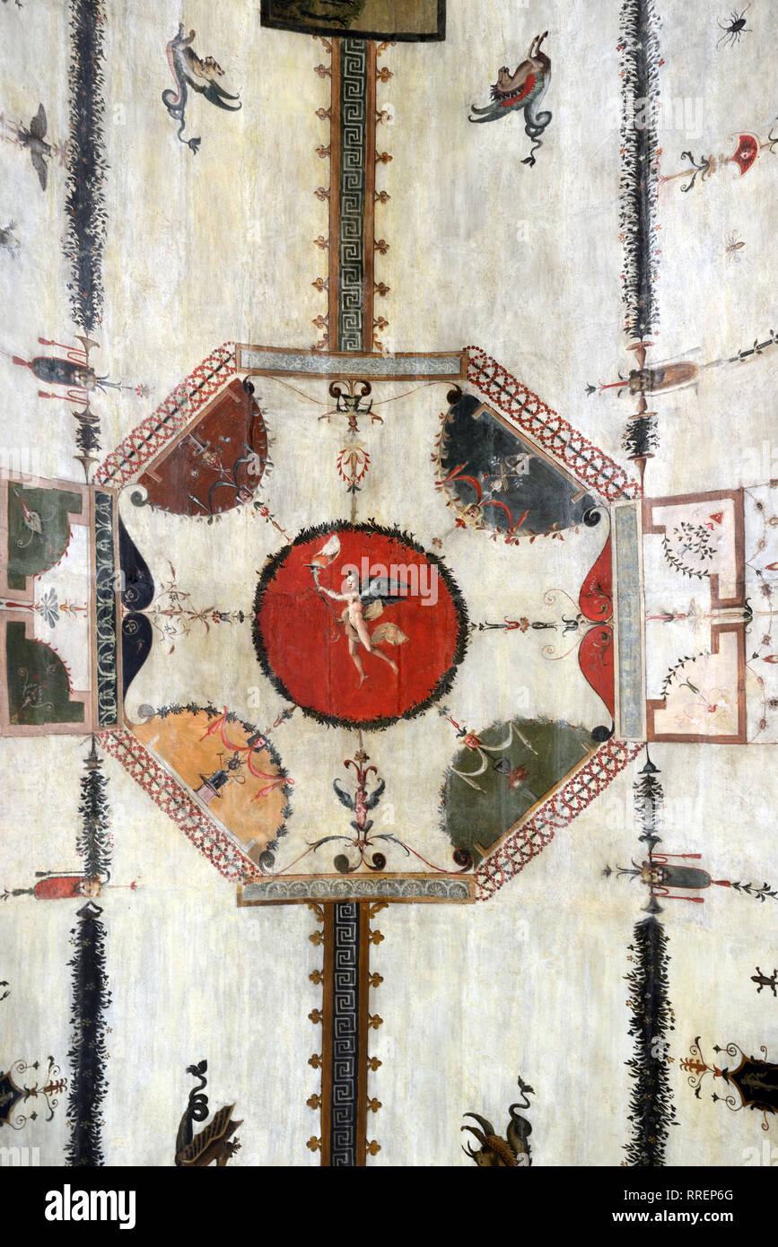 Corridoio delle grottesche nel Rinascimento Villa Farnesina Trastevere Roma Italia Immagini Stock