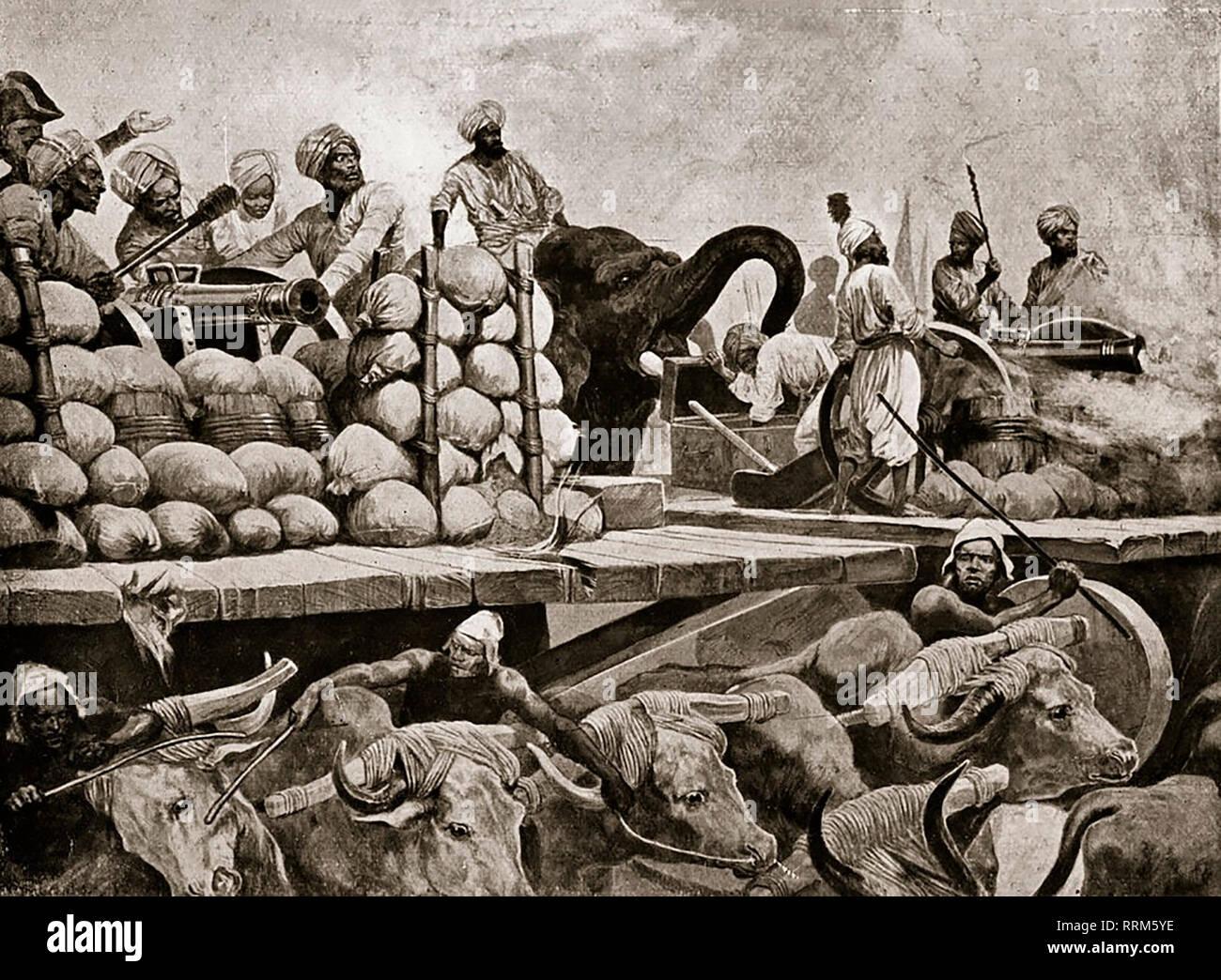 Il Nawab di artiglieria a Plassey - Battaglia di Plassey, 23 giugno 1757; decisiva British East India Company la vittoria contro il Nawab del Bengala e i suoi alleati francesi, che istituisce regola società in India Immagini Stock