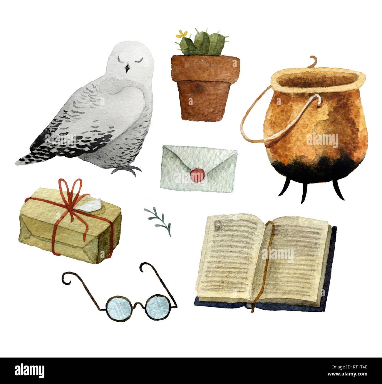 Serie di acquerelli disegnati a mano oggetti isolati su sfondo bianco per il pattern, invito cartolina, tessile, tessuto. Immagini Stock