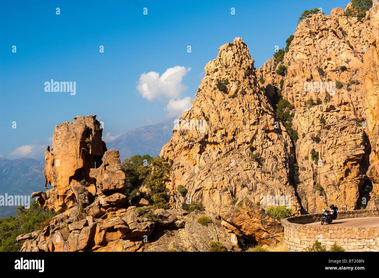 Calanche de Piana route de Porto Haute Corse Francia Immagini Stock
