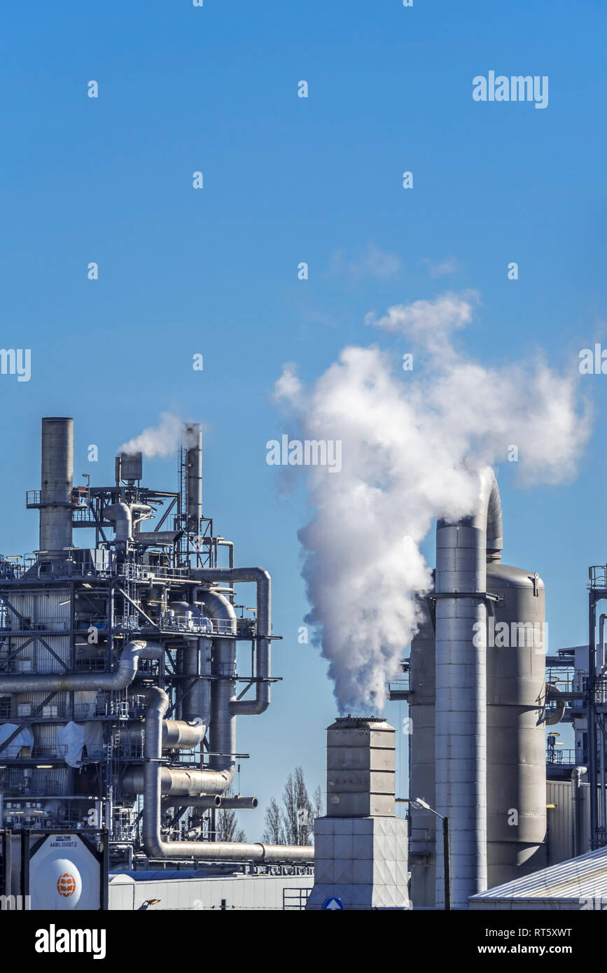Industrial Estate mostra BASF produzione chimica sito nel porto di Anversa, Belgio Foto Stock