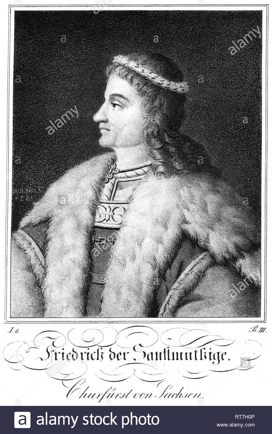 Federico II, il Dolce Elettore di Sassonia, 1412-1464, litografia circa 1840., artista del copyright deve anche essere cancellato Immagini Stock
