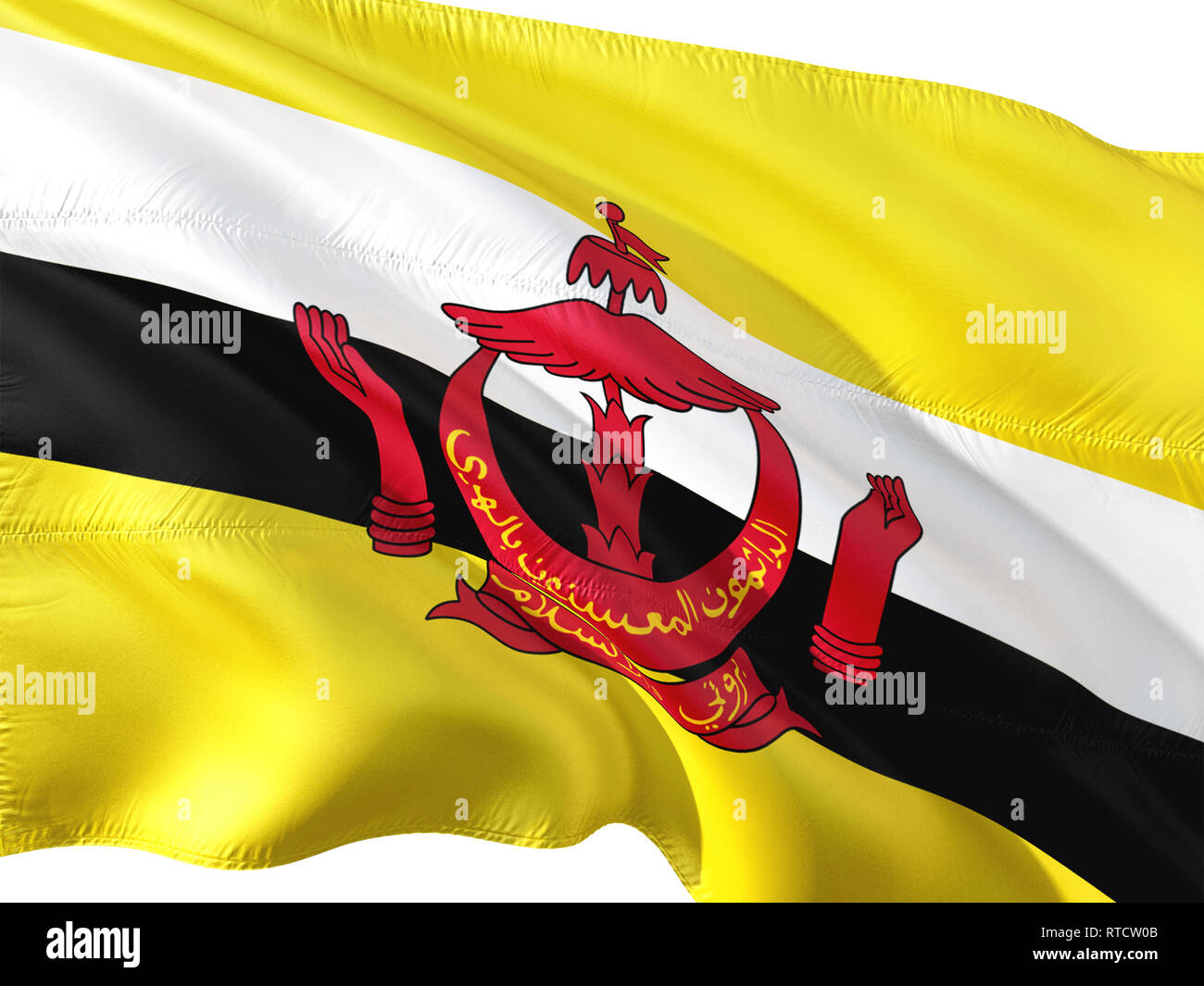 Bandiera del Brunei sventolare nel vento, isolato sullo sfondo bianco. Immagini Stock