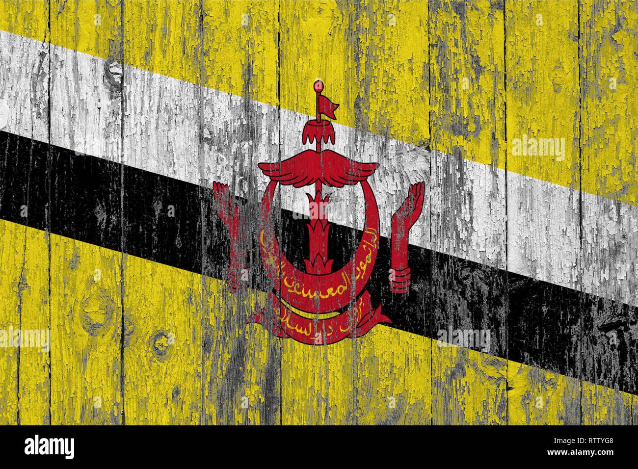 Bandiera del Brunei dipinta su usurata in legno sfondo texture. Immagini Stock